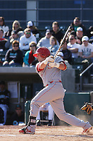 Chris Schaeffer of the North Carolina State Wolfpack hitting during  a game against  the Coastal Carolina University Chanticleers at the Baseball at the Beach Tournament held at BB&T Coastal Field in Myrtle Beach, SC on February 28, 2010.