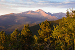 Mt Meeker, Longs Peak, Front Range, peaks, mountain, sunrise, sky, morning, August, color, colorful, subalpine, forest, conifers, valley, mountains, landscape, scenic, Rocky Mountain National Park, Colorado, Rocky Mountains, USA