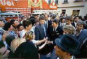 United States President Ronald Reagan and first lady Nancy Reagan greet Soviet citizens on the Arbat in Moscow, USSR on Sunday, May 29, 1988.<br /> Mandatory Credit: Pete Souza - White House via CNP