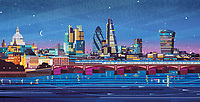 London cityscape at night ExclusiveImage