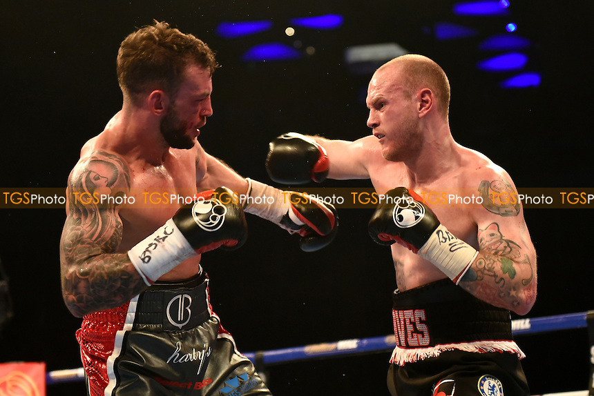 George Groves (black shorts) defeats David Brophy to win the WBA International Super-Middleweight title during a Boxing show at the O2 Arena on 9th April 2016