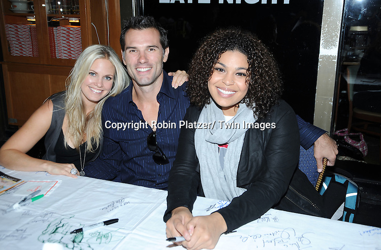Terri Colombino, Austin Peck and Jordin Sparks  posing for photographers at The Broadway Cares/ Equity Fights Aids 24th Annual Broadway Flea Market & Grand Auction on September 26, 2010 in Shubert Alley..photo by Robin Platzer/ Twin Images.212-935-0770