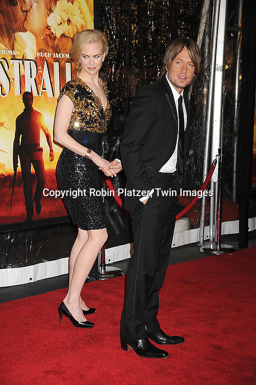 "Keith Urban and wife Nicole Kidman..posing for photographers at The New York Movie Premiere of ""Australia"" on November 24, 2008 at The Ziegfeld Theatre. ....Robin Platzer, Twin Images....212-935-0770"