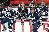 Carson Cooper (Yale - 9), Keith Allain (Yale - Head Coach), Matthew Beattie (Yale - 13), Matt Killian (Yale - 7), Adam Larkin (Yale - 2), Dan O'Keefe (Yale - 3) - The visiting Yale University Bulldogs defeated the Harvard University Crimson 2-1 (EN) on Saturday, November 15, 2014, at Bright-Landry Hockey Center in Cambridge, Massachusetts.