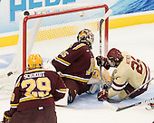 Kent Patterson (Minnesota - 35), Steven Whitney (BC - 21) - The Boston College Eagles defeated the University of Minnesota Golden Gophers 6-1 in their 2012 Frozen Four semi-final on Thursday, April 5, 2012, at the Tampa Bay Times Forum in Tampa, Florida.