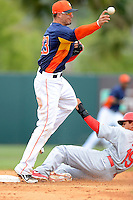 Houston Astros shortstop Tyler Greene #23 throws to first as Jon Jay #19 sides in during a Spring Training game against the St. Louis Cardinals at Osceola County Stadium on March 1, 2013 in Kissimmee, Florida.  The game ended in a tie at 8-8.  (Mike Janes/Four Seam Images)