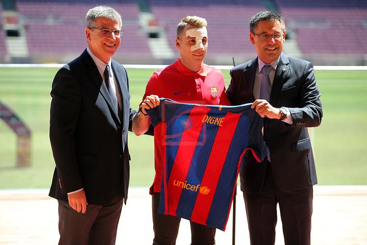 League BBVA 2016/2017.<br /> Lucas Digne presented as new player of FC Barcelona.<br /> Jordi Mestre, Lucas Digne &amp; Josep M Bartomeu.