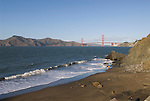 San Francisco: Baker Beach with Golden Gate Bridge in background.  Photo # 2-casanf76349.  Photo copyright Lee Foster