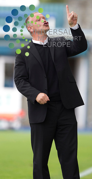 John Hughes livingston manager during the Morton v Livingston FC Irn Bru - SFL division one..Picture: Maurice McDonald/Universal News And Sport (Europe). 11 August  2012. www.unpixs.com.