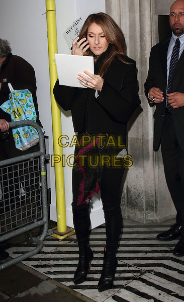 LONDON, ENGLAND - NOVEMBER 05 Celine Dion leaving BBC Radio 2,  November 5th 2013 in London, England.<br /> CAP/ROS<br /> &copy;Steve Ross/Capital Pictures