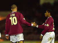 06/12/2003 - Photo  Peter Spurrier.FA Cup 2nd Rd - Northampton v Weston S Mare.Josh Low is congratulated on his goal, by Derek Asamoah [right]