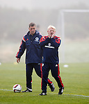 Gordon Strachan and Mark McGhee in the early morning fog at Mar Hall