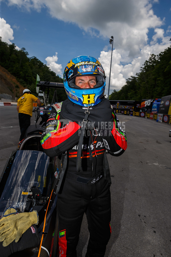 Jun 17, 2017; Bristol, TN, USA; NHRA top fuel driver Clay Millican during qualifying for the Thunder Valley Nationals at Bristol Dragway. Mandatory Credit: Mark J. Rebilas-USA TODAY Sports