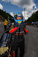 Jun 17, 2017; Bristol, TN, USA; NHRA top fuel driver Clay Millican during qualifying for the Thunder Valley Nationals at Bristol Dragway. Mandatory Credit: Mark J. Rebilas-USA TODAY Sports