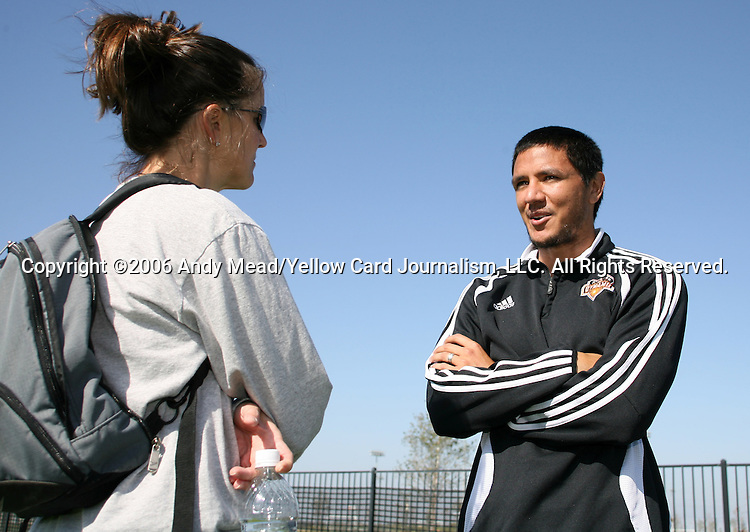 10 November 2006 Houstons Brian Ching R Talks With ABC Sports Sideline Reporter