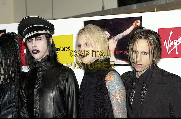 MARILYN MANSON.At Virgin Records Shop To Promote Latest Album: HOLY WOOD (In the Valley of the Shadow of Death) Before Brief UK Concert Tour..Ref: 230101JAV.gothic make up, contacts, tattoos, black leather, leather, half length, half-length.www.capitalpictures.com.sales@capitalpictures.com.© Capital Pictures