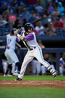 """Akron RubberDucks Connor Smith (16) at bat during an Eastern League game against the Erie SeaWolves on August 30, 2019 at Canal Park in Akron, Ohio.  Akron wore special jerseys with the slogan """"Fight Like a Kid"""" during the game for Akron Children's Hospital Home Run for Life event, the design was created by 11 year old Macy Carmichael.  Erie defeated Akron 3-2.  (Mike Janes/Four Seam Images)"""