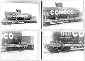 4 views of tank car CONX5 - Conoco printed on 1 8x10 BW.  3/4 and side views.<br /> D&amp;RGW