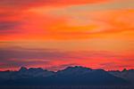 Aleutian Range at sunset, Southcentral Alaska, Summer.
