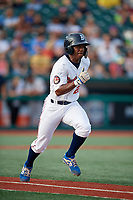Brooklyn Cyclones Kennie Taylor (23) runs to first base during a NY-Penn League game against the Tri-City ValleyCats on August 17, 2019 at MCU Park in Brooklyn, New York.  Brooklyn defeated Tri-City 2-1.  (Mike Janes/Four Seam Images)