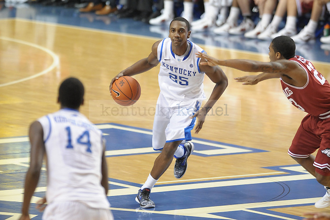 UK's Marquis Teague controls the ball during the second half of the University of Kentucky men's basketball game against Arkansas at Rupp Arena in Lexington, Ky., on 1/17/12. UK won the game 86-63. Photo by Mike Weaver | Staff