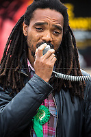Rashid Nix (British Green Party MP Candidate for Dulwich &amp; West Norwood).<br /> <br /> &quot;Stickers, Posters, Banners, Russell Brand, Occupy Statues, Class War&hellip; An Invisible Electoral Campaign&quot;.<br /> <br /> For more pictures and info about this event please click here: http://bit.ly/1H71ECg