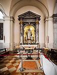 Madonna, altar, Parish S Martino Vescovo, the colorful village of Burano, Italy.
