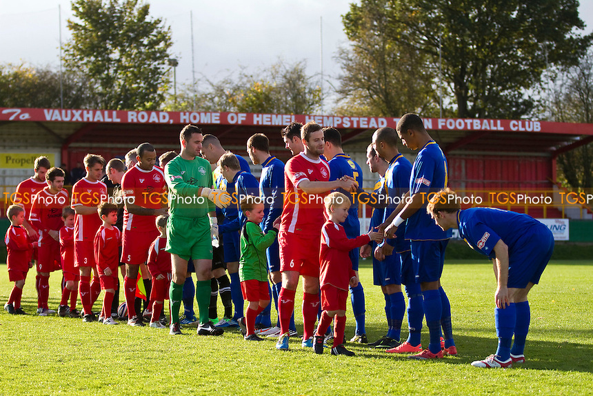 Hemel Hempstead Town mascots join in the Respect handshake before the fixture vs Leamington - Hemel Hempstead Town vs Leamington - Evo-Stik League Southern Premier Football at Vauxhall Road, Hemel Hempstead, Hertfordshire - 27/10/12 - MANDATORY CREDIT: David Bauckham / TGSPHOTO/ CENTRE CIRCLE PUBLISHING - contact@tgsphoto.co.uk - NO UNPAID USE.