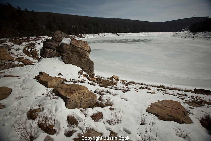 Rock formations in the snow at Mountain Lake Resort and Conservancy, in winter, Giles County, Virginia.