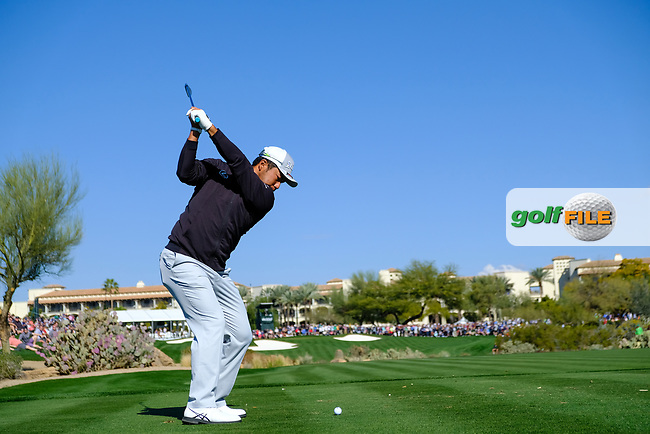 Hideki Matsuyama (JPN) on the 4th tee during the 2nd round of the Waste Management Phoenix Open, TPC Scottsdale, Scottsdale, Arisona, USA. 01/02/2019.<br /> Picture Fran Caffrey / Golffile.ie<br /> <br /> All photo usage must carry mandatory copyright credit (© Golffile | Fran Caffrey)