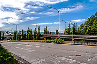 A view of the road heading to the West Seattle bridge and I-5, Washington State.