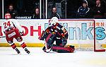 Stockholm 2013-12-28 Ishockey Hockeyallsvenskan Djurg&aring;rdens IF - Almtuna IS :  <br /> Almtuna Tobias Hage g&ouml;r m&aring;l p&aring; straff bakom Djurg&aring;rden m&aring;lvakt Johan Mattsson i straffl&auml;ggningen efter ordinarie matchtid<br /> (Foto: Kenta J&ouml;nsson) Nyckelord:  jubel gl&auml;dje lycka glad happy
