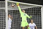27 October 2016: Duke's EJ Proctor (30) is beaten for a goal by Clemson's Sam Staab (not pictured) as Duke's Morgan Reid (24) and Christina Gibbons (31) watch. The Duke University Blue Devils hosted the Clemson University Tigers at Koskinen Stadium in Durham, North Carolina in a 2016 NCAA Division I Women's Soccer match. Clemson won the game 1-0.