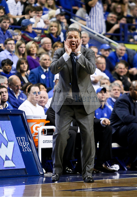 Kentucky head coach John Calipari calls out a play during the second half of the UK men's basketball game vs. Columbia at Rupp Arena in Lexington , Ky., on Wednesday, December 10, 2014. Photo by Jonathan Krueger | Staff