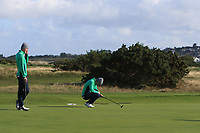 Mark Power and Conor Purcell from Ireland on the 11th green after Round 1 Foursomes of the Men's Home Internationals 2018 at Conwy Golf Club, Conwy, Wales on Wednesday 12th September 2018.<br /> Picture: Thos Caffrey / Golffile<br /> <br /> All photo usage must carry mandatory copyright credit (&copy; Golffile | Thos Caffrey)