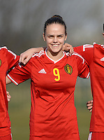 20150307 - TUBIZE , BELGIUM : Belgian Amber Maximus pictured during the friendly female soccer match between Women under 19 teams of  Belgium and Czech Republic . Saturday 7th March 2015 . PHOTO DAVID CATRY