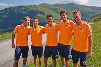 Austria, Kitzbuhel, Juli 15, 2015, Tennis, Davis Cup, Dutch team on top of the &quot;Hahnenkam&quot;  ltr:   Thiemo de Bakker, Jean-Julien Rojer,  Jesse Huta Galung, Robin Haase, and Captain Jan Siemerink,<br /> Photo: Tennisimages/Henk Koster