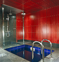 A shower room with a deep blue tiled plunge pool has a floor of grey granite and walls and ceiling clad in stained wood panels