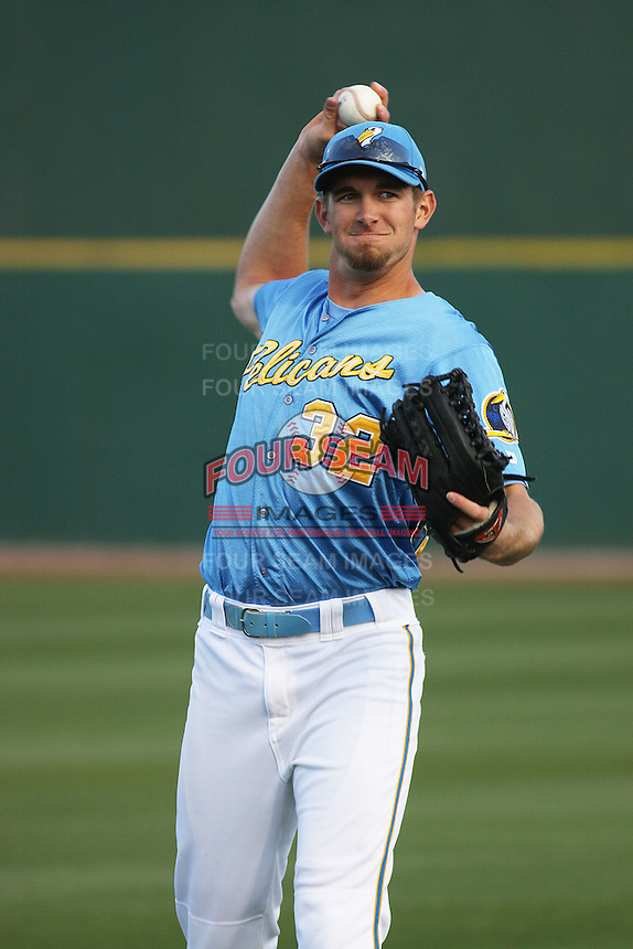 Myrtle Beach Pelicans outfielder Jared Hoying #32 throwing before a game against the Potomac Nationals at Tickerreturn.com Field at Pelicans Ballpark on April 10, 2012 in Myrtle Beach, South Carolina. Potomac defeated Myrtle Beach by the score of 6-4. (Robert Gurganus/Four Seam Images)