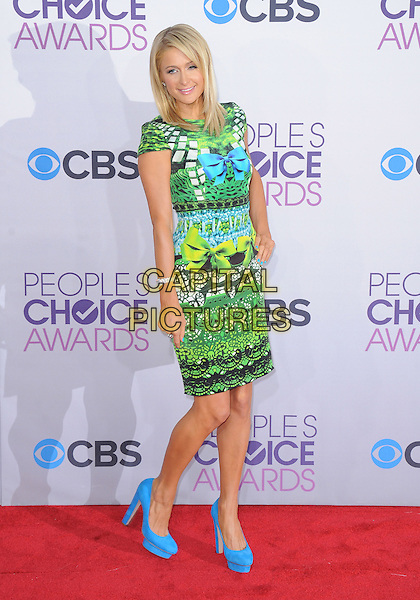 Paris Hilton.The 2013 People's Choice Awards held at Nokia Live in Los Angeles, California 9th January 2013                                                                   .full length dress hand on hip blue black green yellow turquoise pattern print dress shoes platform bow ribbon.CAP/DVS.©DVS/Capital Pictures.
