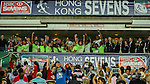 South Africa players celebrate with the trophy after winning the Plate Final during the Cathay Pacific / HSBC Hong Kong Sevens at the Hong Kong Stadium on 30 March 2014 in Hong Kong, China. Photo by Xaume Olleros / Power Sport Images