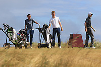 William Russell (Clandeboye), Ross Dutton (Tandragee) and Reece Black (Hilton Templepatrick) on the 17th tee during Round 2 - Strokeplay of the North of Ireland Championship at Royal Portrush Golf Club, Portrush, Co. Antrim on Tuesday 10th July 2018.<br /> Picture:  Thos Caffrey / Golffile