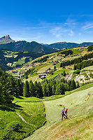 Italy, South Tyrol (Trentino - Alto Adige), La Valle: with its many hamlets, at background summit Peitlerkofel (Sass de Putia) at Puez-Geisler Nature Park (Parco naturale Puez Odle), mountain farmers haymaking | Italien, Suedtirol (Trentino - Alto Adige), Wengen: mit seinen vielen Weilern, im Hintergrund der Gipfel Peitlerkofel im Naturpark Puez-Geisler, Bergbauern beim Heu einholen