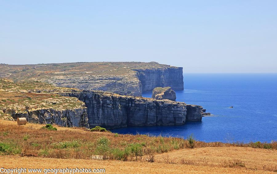 Coastal landscape near Gharb, island of Gozo, Malta view to San Dimitri Point headland