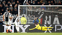 Football Soccer: UEFA Champions League Juventus vs Tottenahm Hotspurs FC Round of 16 1st leg, Allianz Stadium. Turin, Italy, February 13, 2018. <br /> Juventus' Gonzalo Higuain kicks a penalty and scores his second goal in the match during the Uefa Champions League football soccer match between Juventus and Tottenahm Hotspurs FC at Allianz Stadium in Turin, February 13, 2018.<br /> UPDATE IMAGES PRESS/Isabella Bonotto