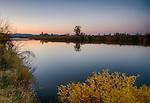 Idaho, Southwestern, Middleton. Dawn at the Duff Lane Sportsman Access in autumn.