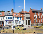 War memorial and historic buildings in the town of East Dereham, Norfolk, England