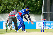 ICC World T20 Qualifier - GROUP B MATCH - AFGHANISTAN v UAE at Grange CC, Edinburgh - Afghanistan's Hamid Hassan just fails to deflects the ball on to the stumps for a run-out  — credit @ICC/Donald MacLeod - 10.07.15 - 07702 319 738 -clanmacleod@btinternet.com - www.donald-macleod.com