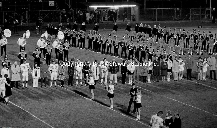 Bethel Park PA:  Bethel Park Band and Bethettes performing during Senior Night at Bethel Park High School Football field - 1970  Standing in Line:  Scott Streiner, Mike Gomber, Allan Popovich, Mike Stewart, Lynn Reel, Paige Keenan, Geri Frey, Debbie Smith, and Cathy Clark