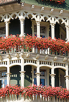 Germany, Baden-Wuerttemberg, Black Forest, St. Blasien: town at Alb Valley, flower decorated balcony of a wooden building